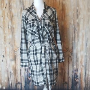 Skies Are Blue black & white checkered dress
